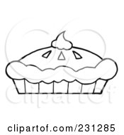 Royalty Free RF Clipart Illustration Of A Coloring Page Outline Of A Fresh Pumpkin Pie With Whipped Cream On Top