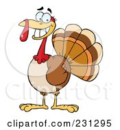 Royalty Free RF Clipart Illustration Of A Happy Thanksgiving Turkey Bird Smiling by Hit Toon #COLLC231295-0037