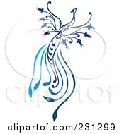 Royalty Free RF Clipart Illustration Of A Blue Flying Phoenix by Cherie Reve