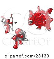 Clipart Illustration Of Two Red Men Working Together To Conquer An Obstacle A Dragon