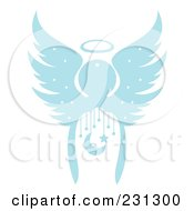 Royalty Free RF Clipart Illustration Of A Blue Christmas Angel With A Crescent Moon And Stars