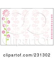 Pink And Green Horizontal Daisy Floral Border Background