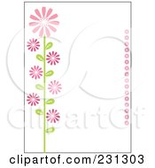 Pink And Green Vertical Daisy Floral Border Background