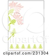 Pink And Green Vertical Floral Border Background