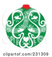 Royalty Free RF Clipart Illustration Of A Green And White Christmas Ornament With Heart And Bird Designs by Cherie Reve