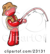 Red Man Wearing A Hat And Vest And Holding A Fishing Pole by Leo Blanchette
