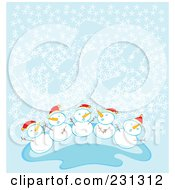 Royalty Free RF Clipart Illustration Of A Group Of Happy Snow Children Wearing Santa Hats In The Snow Over Blue