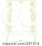 Green Vertical Floral Border Background