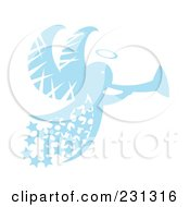 Royalty Free RF Clipart Illustration Of A Blue Christmas Angel With Stars And A Horn