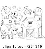 Digital Collage Of Coloring Page Outlines Of Farm Animals And A Barn With Granary