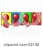 Clipart Illustration Of Four Red Men In Different Poses Against Colorful Backgrounds Perhaps During A Meeting by Leo Blanchette