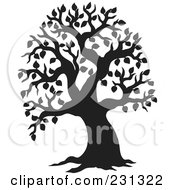 Royalty Free RF Clipart Illustration Of A Black Silhouetted Tree With Leaves