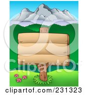 Royalty Free RF Clipart Illustration Of A Blank Woodn Sign With A Mountain Landscape