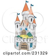 Royalty Free RF Clipart Illustration Of A Fortified Medieval Castle