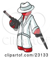 Clipart Illustration Of A Red Gangster Man Carrying A Gun And Leaning On A Cane