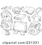 Digital Colage Of Coloring Page Outlines Of Educational Items