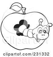 Royalty Free RF Clipart Illustration Of A Coloring Page Outline Of A Worm In An Apple by visekart