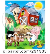 Barnyard Animals By A Fence Near A Barn And Silo Granary