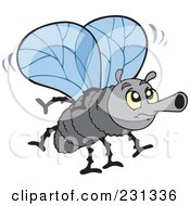 Royalty Free RF Clipart Illustration Of A Grumpy Bly Winged Fly