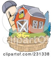 Royalty Free RF Clipart Illustration Of A Fence Around A Barn And Silo Granary