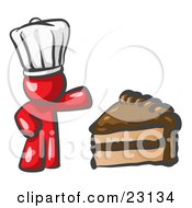 Clipart Illustration Of A Red Chef Man Wearing A White Hat And Presenting A Tasty Slice Of Chocolate Frosted Cake