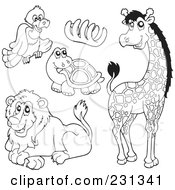 Royalty Free RF Clipart Illustration Of A Digital Collage Of Coloring Page Outlines Of A Vulture Bones Tortoise Lion And Giraffe by visekart