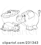 Royalty Free RF Clipart Illustration Of A Digital Collage Of Coloring Page Outlines Of A Crocodile Hippo And Elephant