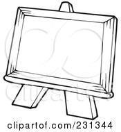 Royalty Free RF Clipart Illustration Of A Coloring Page Outline Of An Easel