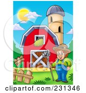 Royalty Free RF Clipart Illustration Of A Male Farmer By A Barn And Silo Granary