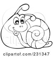 Royalty Free RF Clipart Illustration Of A Coloring Page Outline Of A Snail by visekart