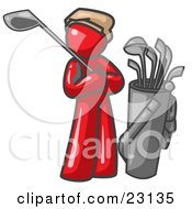 Clipart Illustration Of A Red Man Standing By His Golf Clubs