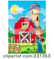 Royalty Free RF Clipart Illustration Of A Female Farmer By A Barn And Silo Granary