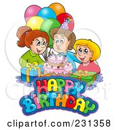 Royalty Free RF Clipart Illustration Of Friends By A Birthday Boy Blowing Out His Candles by visekart