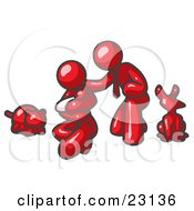 Clipart Illustration Of A Red Family Father Mother And Newborn Baby With Their Dog And Cat