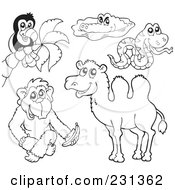 Royalty Free RF Clipart Illustration Of A Digital Collage Of Coloring Page Outlines Of A Toucan Crocodile Snake Monkey And Camel
