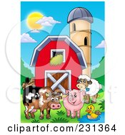 Royalty Free RF Clipart Illustration Of Barnyard Animals By A Barn And Silo Granary by visekart