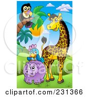 Royalty Free RF Clipart Illustration Of A Hippo Parrot Giraffe And Toucan In An African Landscape by visekart