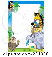 Royalty Free RF Clipart Illustration Of A Border Of African Animals Around White Space by visekart