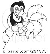 Royalty Free RF Clipart Illustration Of A Coloring Page Outline Of A Toucan In A Palm Tree by visekart