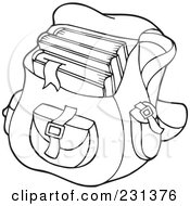 Coloring Page Outline Of A School Bag