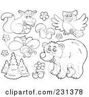 Royalty Free RF Clipart Illustration Of A Digital Collage Of Coloring Page Outlines Of Forest Animals And Plants by visekart