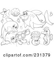 Royalty Free RF Clipart Illustration Of A Digital Collage Of Coloring Page Outlines Of Sea Creatures 2 by visekart