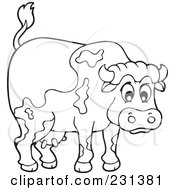 Royalty Free RF Clipart Illustration Of A Coloring Page Outline Of A Barnyard Bull by visekart
