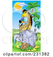 Royalty Free RF Clipart Illustration Of A Tortoise Elephant Giraffe And Parrot In An African Landscape by visekart