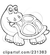 Royalty Free RF Clipart Illustration Of A Coloring Page Outline Of A Tortoise by visekart