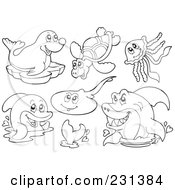 Royalty Free RF Clipart Illustration Of A Digital Collage Of Coloring Page Outlines Of Sea Creatures 1 by visekart