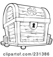 Royalty Free RF Clipart Illustration Of A Coloring Page Outline Of A Treasure Chest by visekart