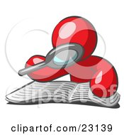 Clipart Illustration Of A Red Man Using A Magnifying Glass To Examine The Facts In The Daily Newspaper