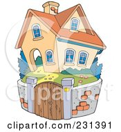 Royalty Free RF Clipart Illustration Of A Stone Wall Around A Home