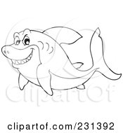 Coloring Page Outline Of A Mean Shark